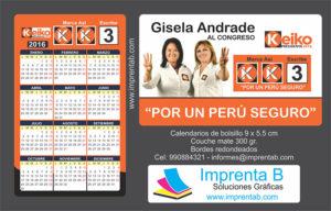 calendario de bolsillo campaña política