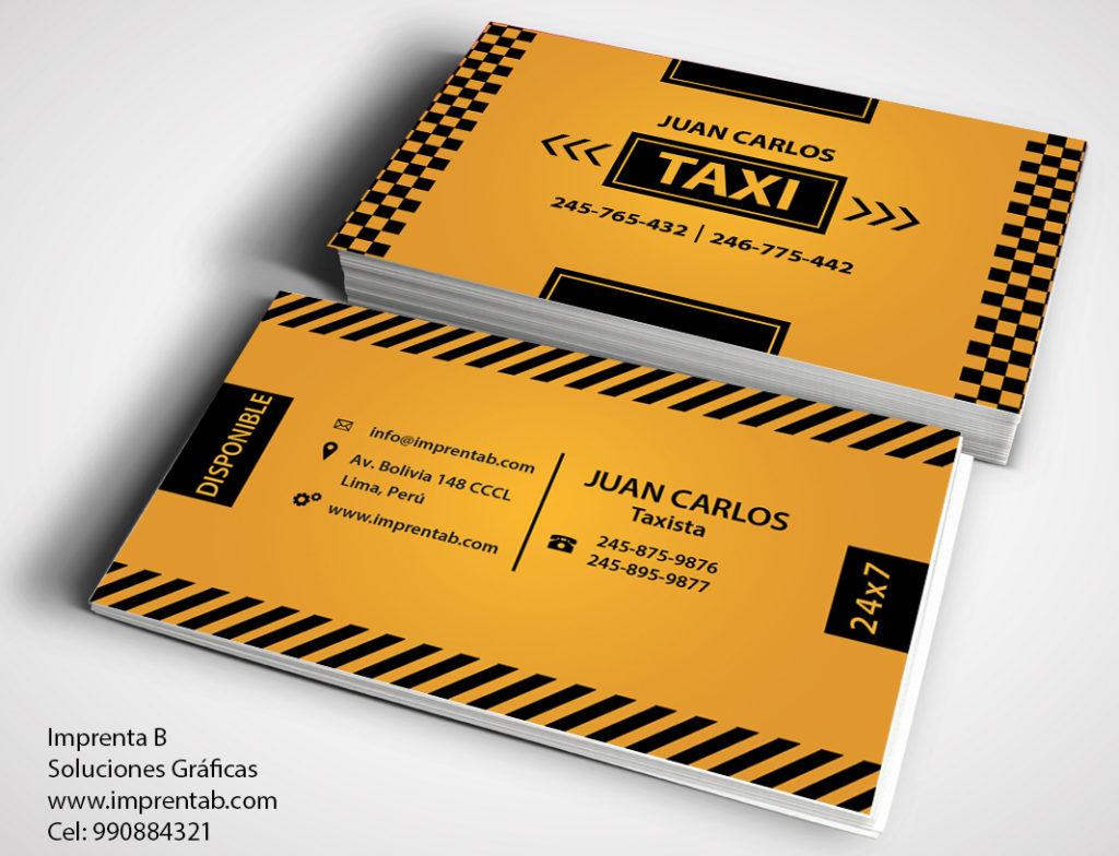 Tarjeta de presentación de servicio de taxi para transportistas.